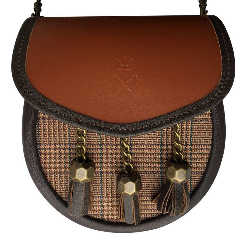Nixey Sporran Handbag in Glen Keith Tweed and Chestnet Leather main