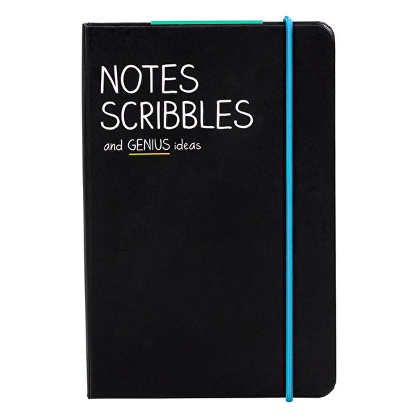 Notes Scribbles & Genius Ideas A6 Notebook font cover
