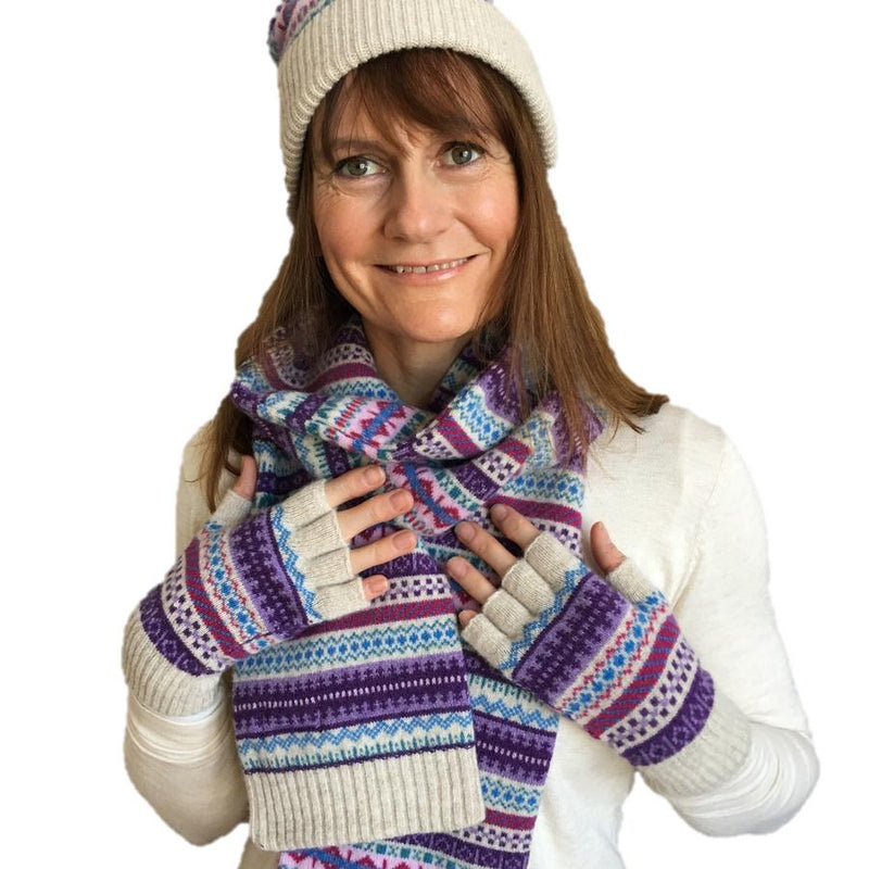 Old School Beauly Knitwear Gloves on Model with matching Hat & Scarf