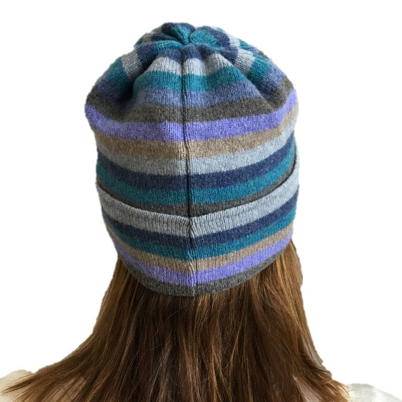Old School Beauly Knitwear - Inverness Blue Skies Hat on Model back