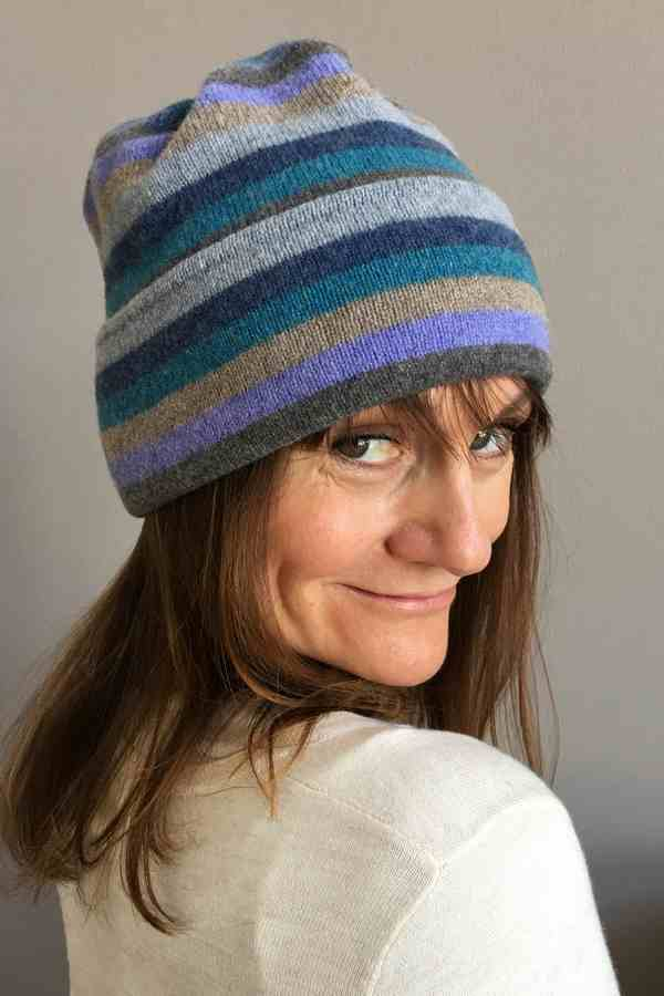 Old School Beauly Knitwear - Inverness Blue Skies Hat on model