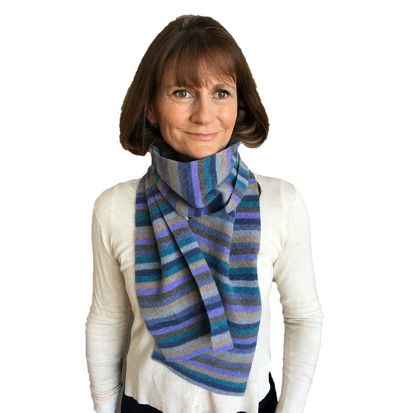 Old School Beauly Knitwear - Inverness Blue Skies Scarf on Helen