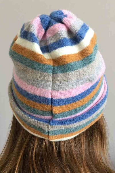 Old School Beauly Knitwear - Inverness Pink Skies Hat on model back