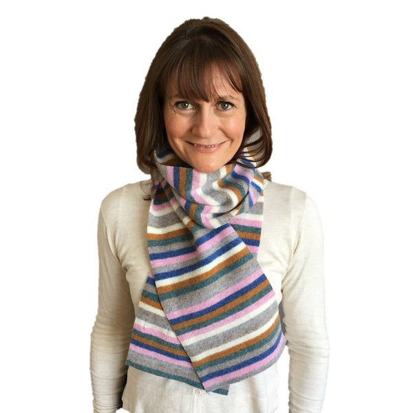 Old School Beauly Knitwear - Inverness Pink Skies Scarf on model
