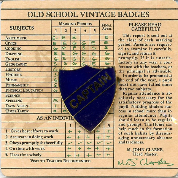 Old School Vintage Badge - Captain Blue Shield