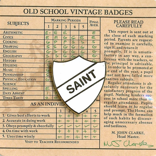 Old School Vintage Badge - Saint White Shield