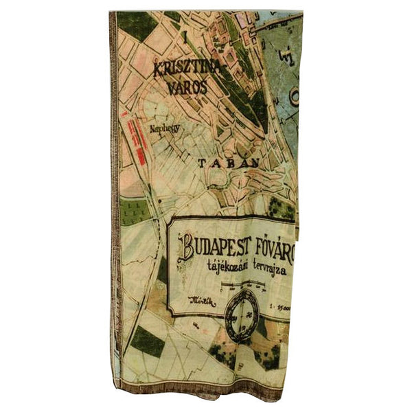 One Hundred Stars Budapest Map Scarf Folded