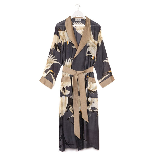 One Hundred Stars Dressing Gown Stork Charcoal front