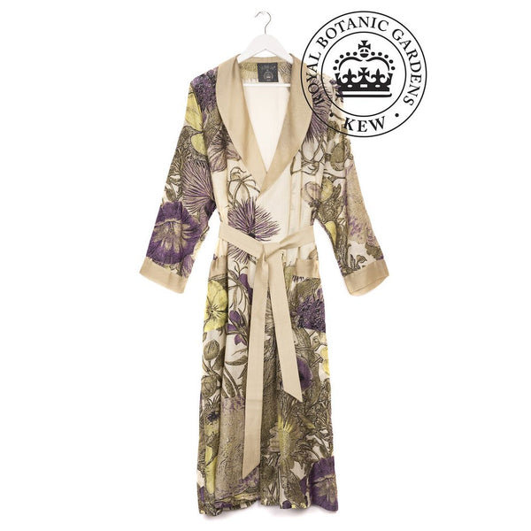 One Hundred Stars Kew Gardens Purple Thistle Dressing Gown front