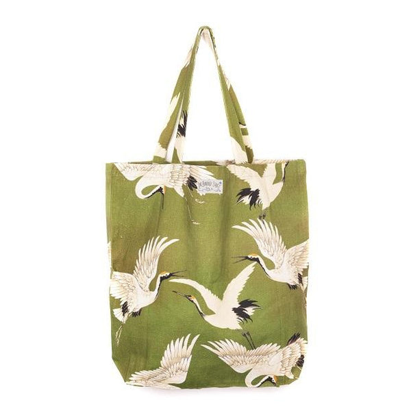 One Hundred Stars Green Stork Tote Bag