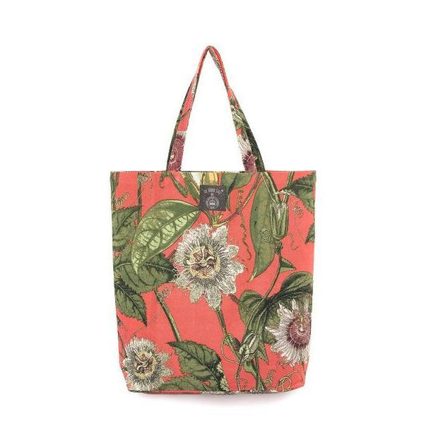 One Hundred Stars Kew Coral Passion Flower Cotton Tote Bag