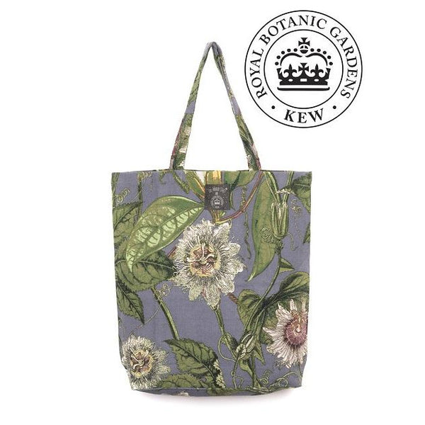 One Hundred Stars Kew Grey Passion Flower Cotton Tote Bag with RBG logo