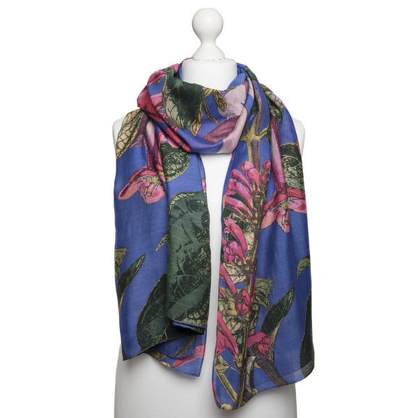 One Hundred Stars Kew Magnolia Purple Scarf on mannequin