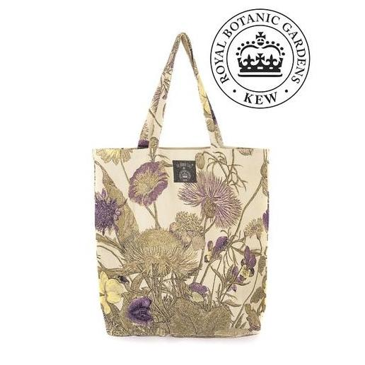 One Hundred Stars Kew Purple Thistle Cotton Tote Bag with RBG logo