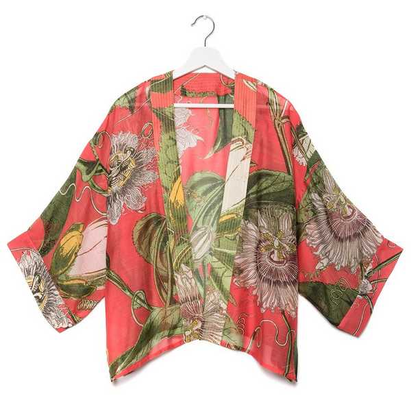 One Hundred Stars Kew RBG Passion Flower Coral Kimono front