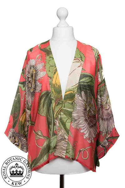 One Hundred Stars Kew RBG Passion Flower Coral Kimono on mannequin front