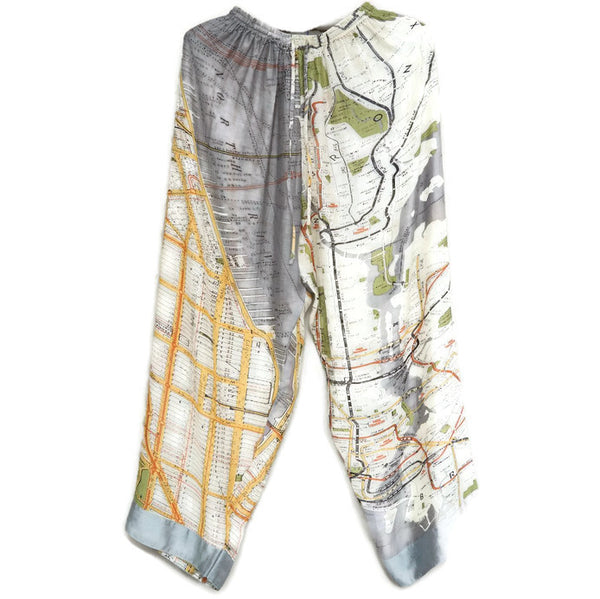 Palazzo Pants - New York City Street Map Grey