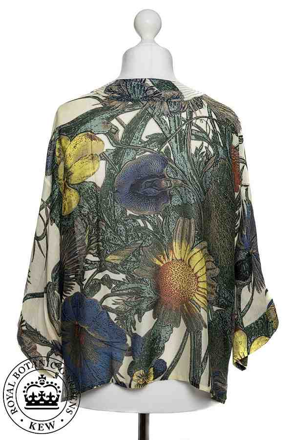 One Hundred Stars Royal Botanic Gardens Thistle Kimono on mannequin back