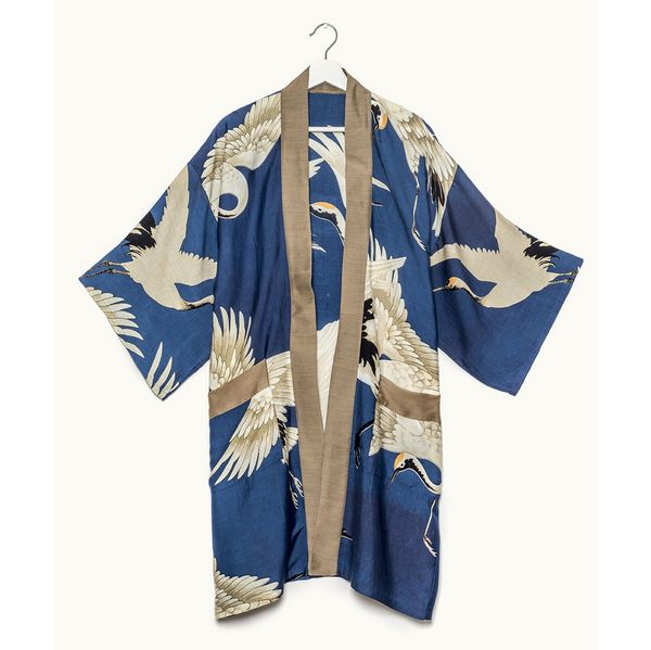 One Hundred Stars Stork Collar Kimono Blue front