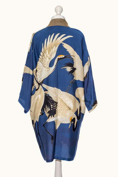 One Hundred Stars Stork Collar Kimono Blue on mannequin back