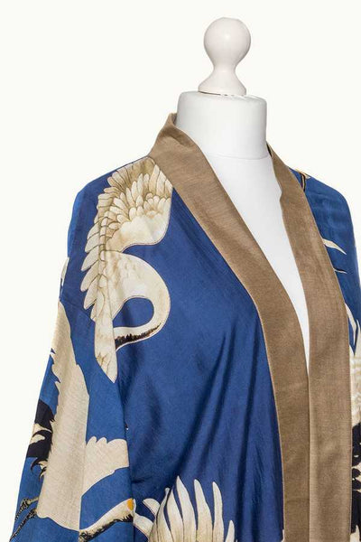 One Hundred Stars Stork Collar Kimono Blue on mannequin detail
