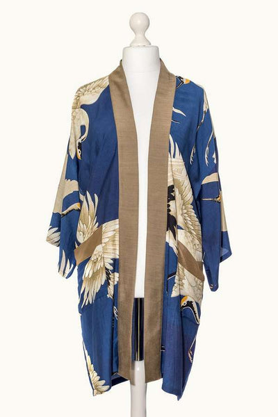 One Hundred Stars Stork Collar Kimono Blue on mannequin front