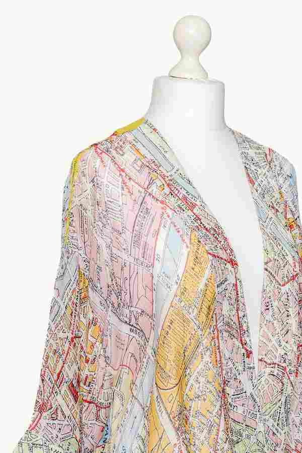 One Hundred Stars Valerie Paris Street Map Mini Kimono detail