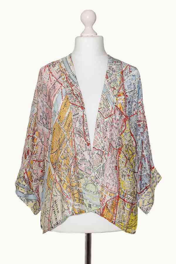 One Hundred Stars Valerie Paris Street Map Mini Kimono on mannequin