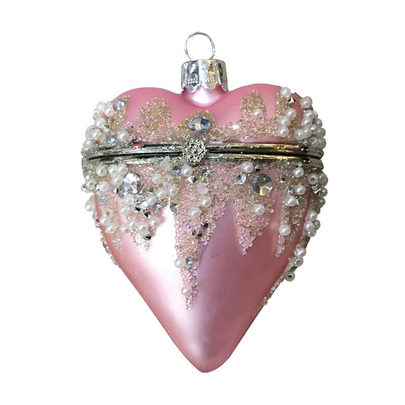Openable Pink Hanging Heart Christmas Bauble