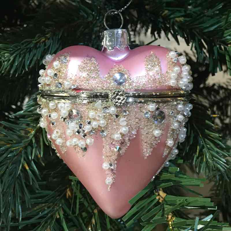Openable Pink Hanging Heart Christmas Bauble on Christmas Tree