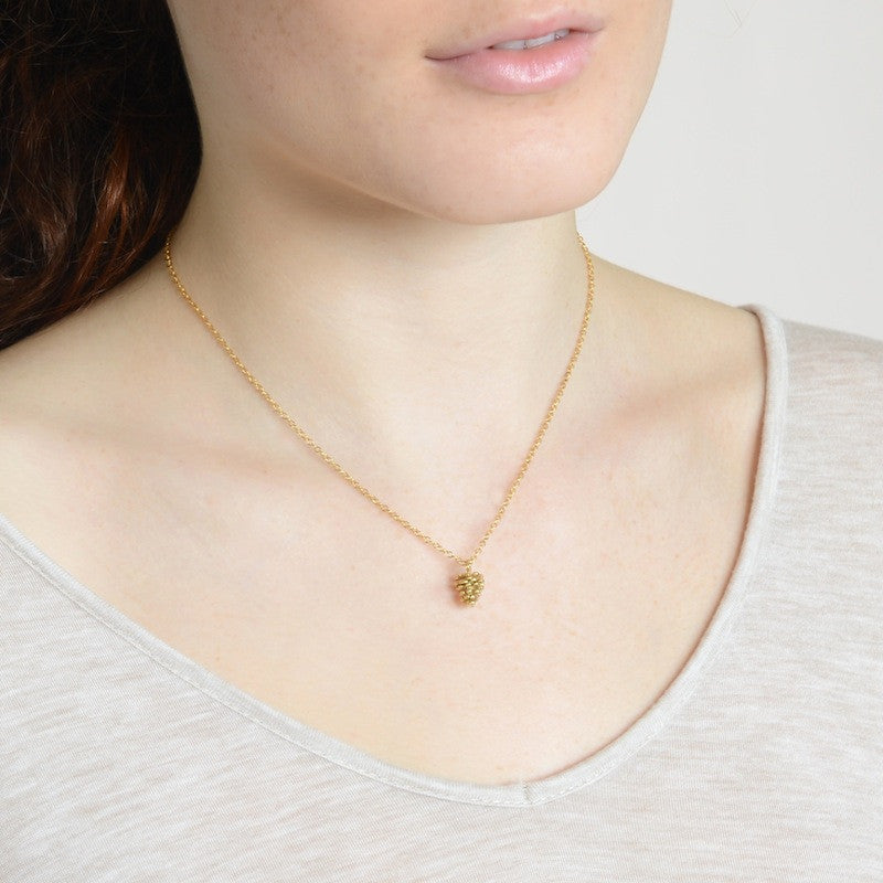 Bird's Nest Yellow Gold Pine Cone Necklace on model