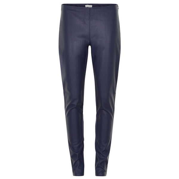Ananna Faux Leather Trouser Blue Graphite