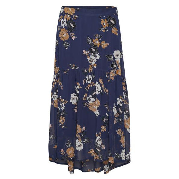 Part Two Clothing Vaia Skirt in Bouquet Flower Print Dark Blue 30304703-34102 front
