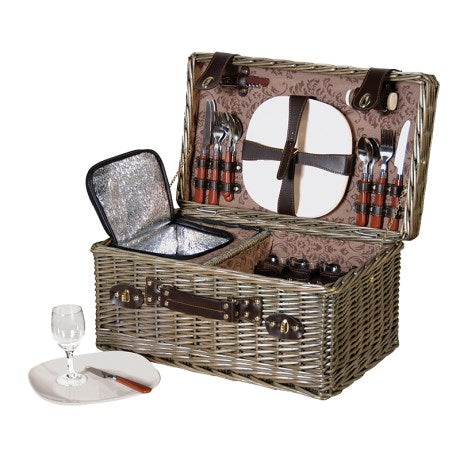 Picnic Hamper With Cool Box, crockery, cutlery and glasses