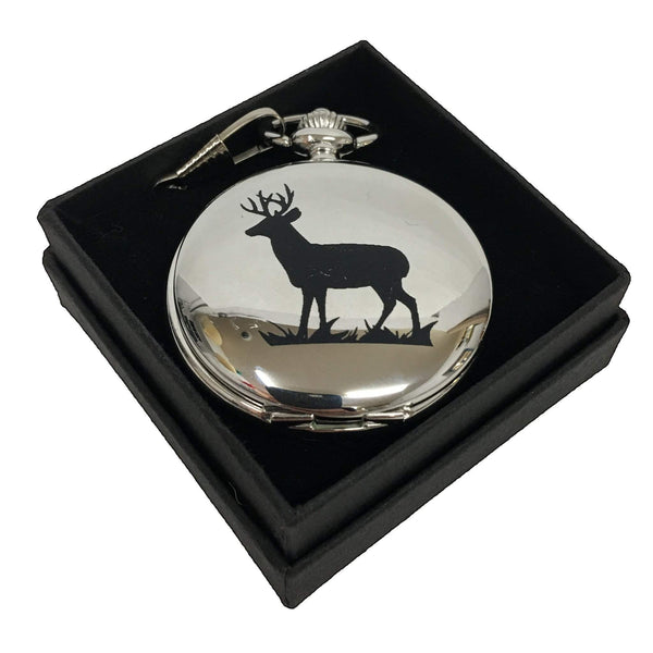 Pocket Watch Engraved with Deer Stag