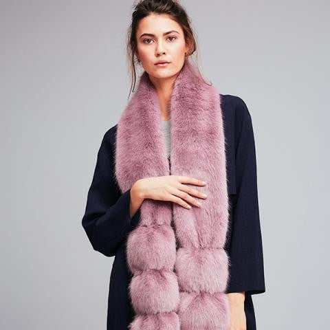 Faux Fur Pom Pom Scarf Heather on model