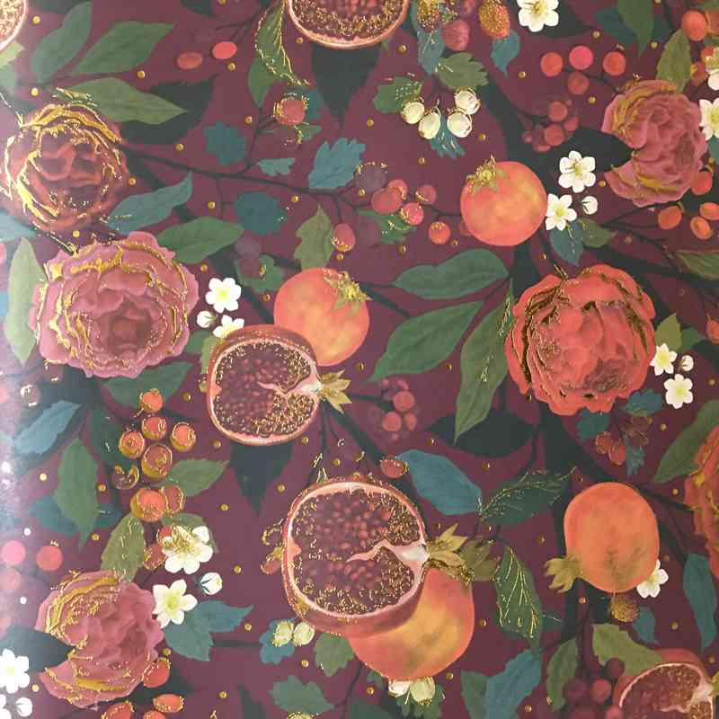 Pomegranites and Roses Christmas Gift Wrap GWX43