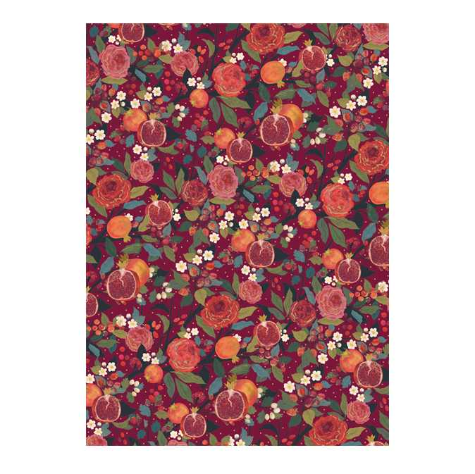Pomegranites and Roses Christmas Gift Wrap Paper GWX43 main