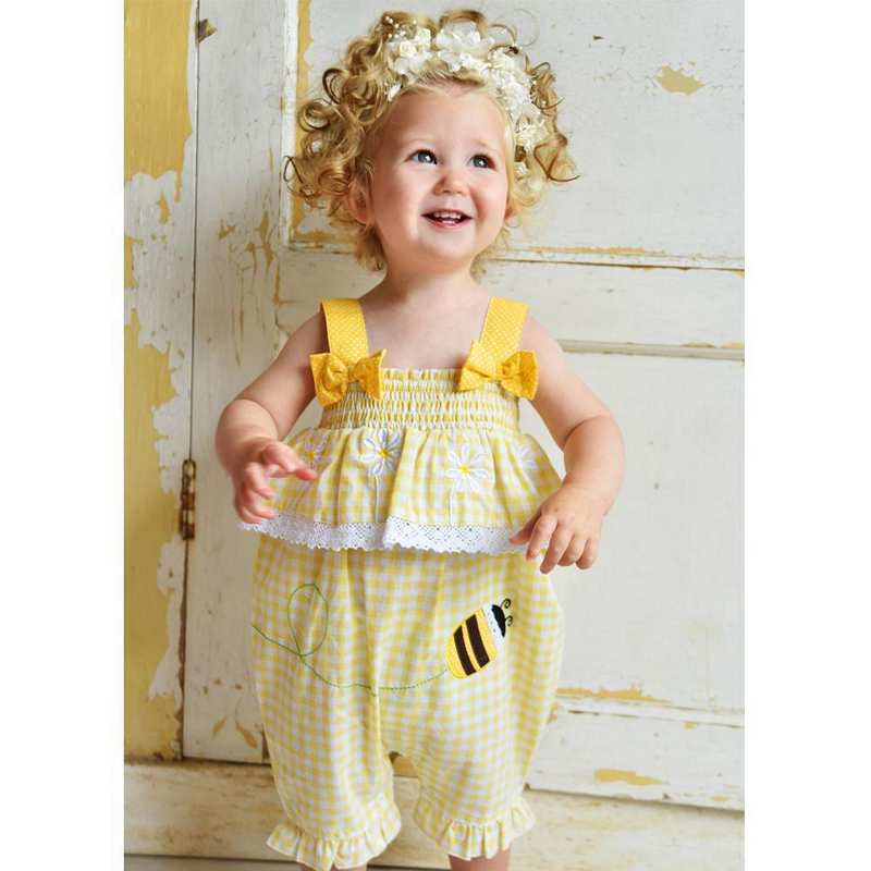 Powell Craft Bumblebee Lemon Romper on toddler