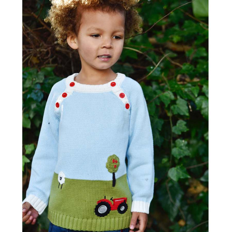 Powell Craft Farmyard Crew-neck Jumper HKFY5 on model