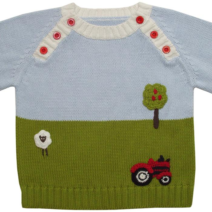 Powell Craft Farmyard Crew Neck Jumper front