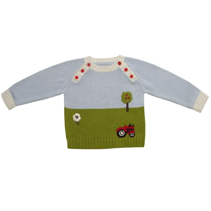Powell Craft Farmyard Crew Neck Jumper with sleeves