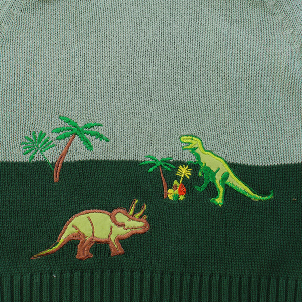 Powell Craft Hand-knitted Dinosaur Jumper detail