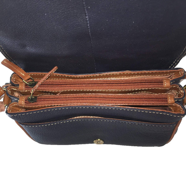 Prelude Half Flap Shoulder Bag Navy inside
