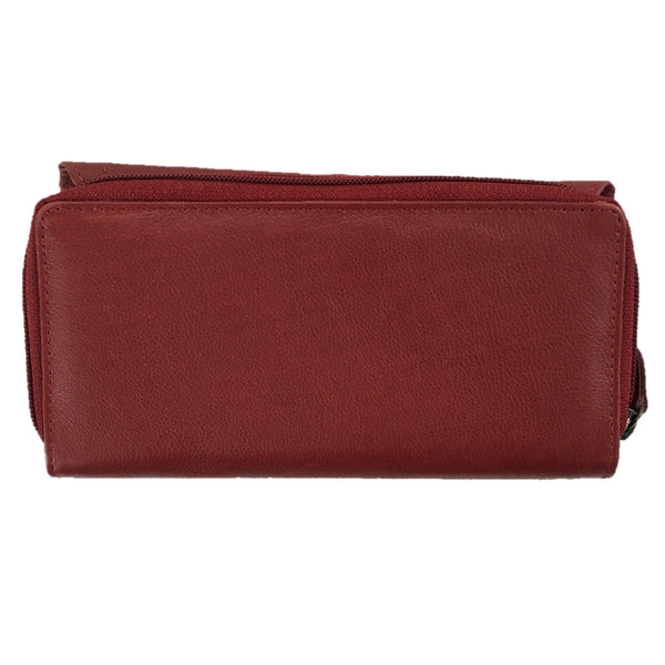Red Tri Fold Purse back