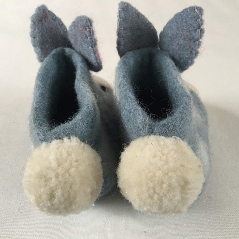 Rory rabbit children's felt slippers tail
