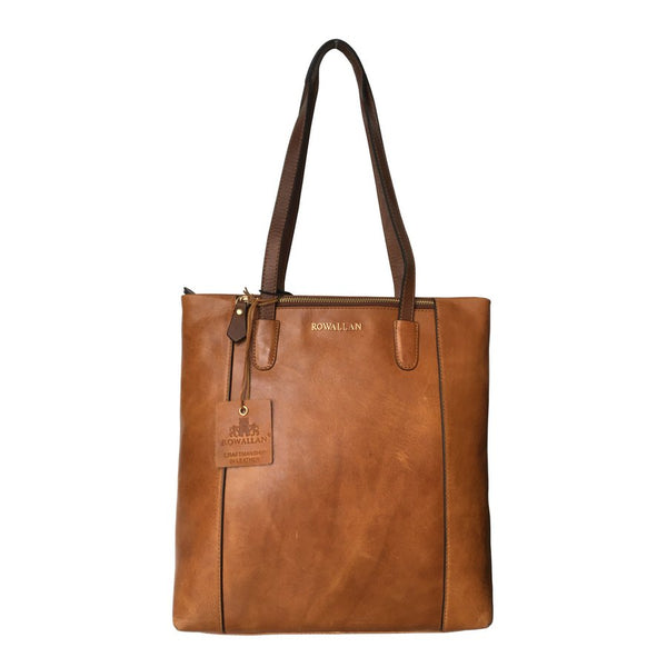 Rowallan Of Scotland Askana Cognac Brown Twin Handle Tote Bag front