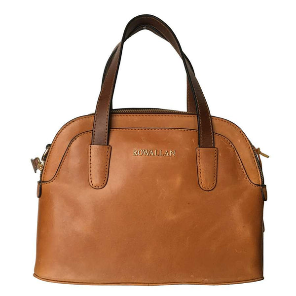 Rowallan Of Scotland Askana Cognac Brown Twin Zip Rounded Handbag front