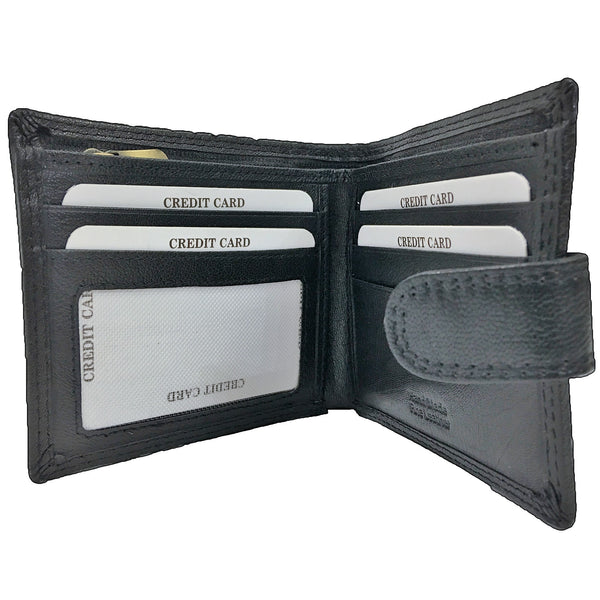 Rowallan Honeywood Black Tabbed Standard Wallet open