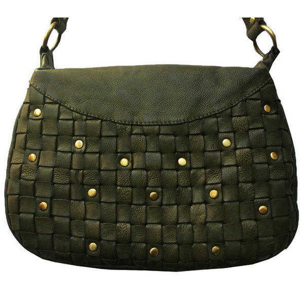 Rowallan Of Scotland Ascoli Green Medium Hobo Style Handbag front